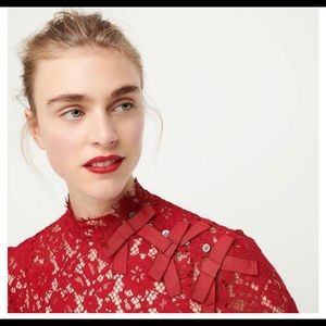 J Crew Red Lace Blouse